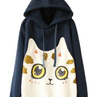 Sheinside Navy Hooded Long Sleeve Cat Print Sweatshirt