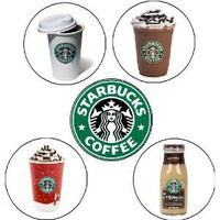 "Set of 5 STARBUCKS 1.25"" MAGNETS Coffee Lover"