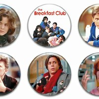 Set of 6 New The Breakfast Club 1.25 Pinback Button Badge 80s Dvd Movie Poster Shirt Pin