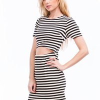One-Two Punch Striped Cut-Out Dress