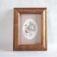 Vintage Persian Kitten with Flowers and Birds Print in Wood Frame