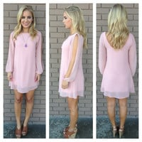 Rose Pink Long Sleeve Chiffon Dress