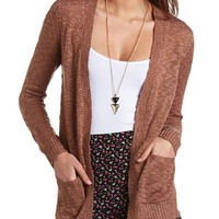 SLUB KNIT OPEN CARDIGAN SWEATER