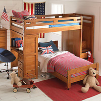 Creekside Taffy Twin Twin Step Bunk Bedroom w Desk