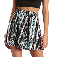 TRIBAL PRINT PLEATED SKATER SKIRT