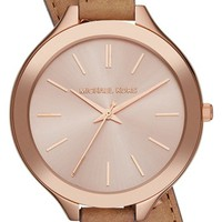 Michael Kors 'Slim Runway' Double Wrap Leather Strap Watch, 42mm | Nordstrom