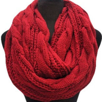 Warm Up SALE: Warm and Cozy Big and Thick Cranberry Red Infinity Scarf