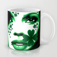 St Patrick Girl with Shamrock on Lips Mug by Bluedarkat Lem