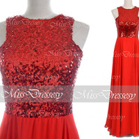 Sequin Prom Dresses, Prom Gown, Straps Sequined and Chiffon Red Long Prom Dresses, Sequined Evening Gown, Formal Gown,Sequin Formal Dresses