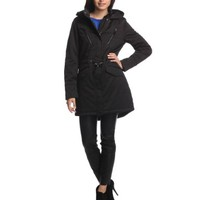 French Connection Women's Hooded Parka with Zip-Out Faux Fur Liner