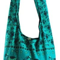 Sea Green Hippie Hobo Boho Vintage Elephant Sling Cotton Yam Buddha Crossbody Shoulder Messagenger Bag Purse Tote EB37