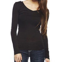 Long Sleeve V-Neck Tee | Wet Seal