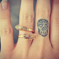 LUX DIVINE /// Semi Adjustable Clear Crystal Point Wrap Ring /// Stackable Gemstone Gold Electroformed Ring