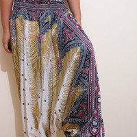Elegant Peacock Feather Boho Harem Pants/ Hippie Pants/ Gypsy Aladdin Genie Pants/ Yoga Pants/ Wide Leg Pants (White)