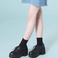 Leather Chunky Heel Brogue Black - THE WHITEPEPPER