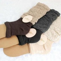 4 Pairs Calf Knee Sock Rib Colorful Thigh High Cotton Stockings Boot Socks Lady