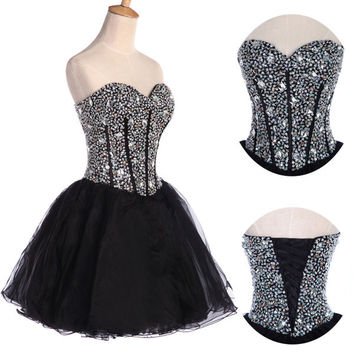 NEW Stock Beaded Short Mini Party Dress Homecoming Prom Party Cocktail Dress