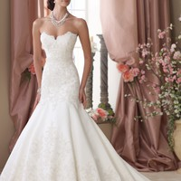 Lace Applique Satin Gown by David Tutera for Mon Cheri