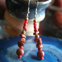 Earthwear Natural Earrings ~ Motivation and Ambition: Sparkly Goldstone and Unakite Gemstone Beads