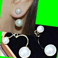 Double Pearls Curved Wrapping Ear Cuffs