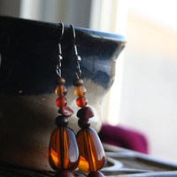 Earthwear Natural Earrings ~ Sparkling Copper Goldstone and Carnelian Agate ~ Natural Earrings with Gemstone Healing Beads