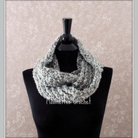 Light Gray Scarf Handmade Neckwarmer Grey Infinity Scarf Cowl Neck Tube Circle Scarf Medium Gray Grey