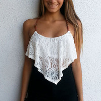Coachella Crop Top - White | ZOE Boutique