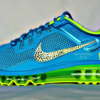 Women's Gamma Blue/Volt Nike Air Max with Swarovski crystal detail