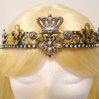 Queen Bee Crown, Gold, Tiara, Filigree for a Princess, French, Fleur de Lis, Bumble, Honey Bee, Game of Thrones, Steampunk, Vintage, OOAK