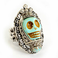 Ollipop Jewelry - Large Day of the Dead Ring with Primitive Turquoise Skull with Crown in Brushed Silver