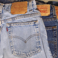 "Extra Long"" Levi's Brand High Waisted denim shorts cut offs Highwaisted High rise in stock All Sizes AvailablE"
