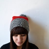 Red, Black and White Crocheted Hat