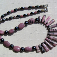 "Crystal Gemstone Statement Fan Necklace - ""Rhodonite & Hematite ""Strawberry Blush"" - Special Offer Price"
