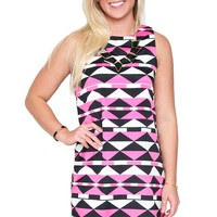 Love Triangle Tribal Shift Dress with Navy, Magenta and Ivory Print