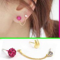 Cute Bunny Two Hole Tassel Asymmetric Earrings
