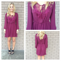 Burgundy Tie Up Long Sleeve Dress
