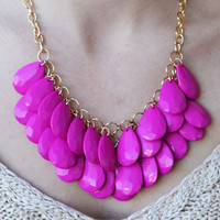 Ramblewood Fuchsia Beaded Teardrop Necklace