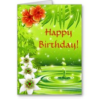 Fresh Green Water Bamboo and Tropical Flowers Card
