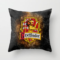 Harry potter Gryffindor team flag Throw Pillow case by Three Second