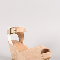 Bamboo Renata-04 Two Tone Peep Toe Platform Wedge