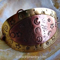Celestial Brass and Copper Warrior Woman Bracelet | zoraida - Jewelry on ArtFire