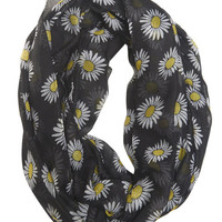 Daisy Print Infinity Scarf | Wet Seal