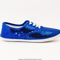 CVO Royal Blue Canvas Sequin Sneakers Tennis Shoes
