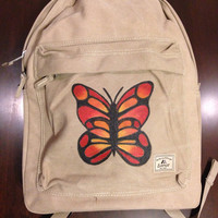 Laptop Backpack Hand Painted with Butterfly