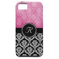 Wihite on Black and Deep Pink Damask Monogram Case