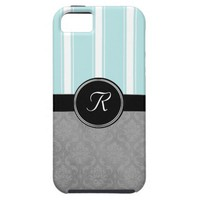 Gray Damask Aqua Stripe Monogram Case