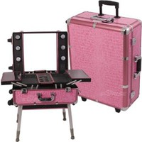 Sunrise Pink Crocodile Textured Printing Professional Rolling Studio Makeup Case Organizer With Lights, Legs And Mirror