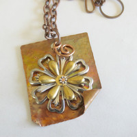 Fire Torched Copper Pendant Steel and Brass Flowers Riveted