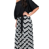 One Shoulder Maxi Dress with Chevron Print Skirt