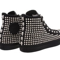 Studded Converse, Converse Black Monochrome with Silver Tiny Cone Studs by CUSTOMDUO on ETSY